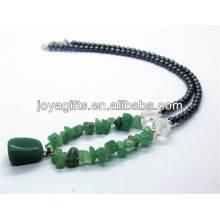 Grüner Aventurin-Chip Halskette mit Hämatit-Rundperlen