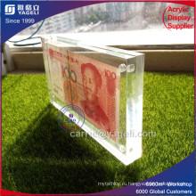Высокий прозрачный акриловый денежный держатель валюты с Maganet