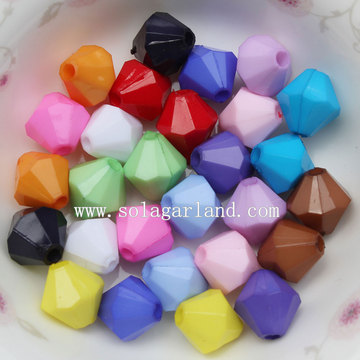 Lucite 4mm-20mm Acrylic Bicone Faceted Beads with Solid Opaque Color