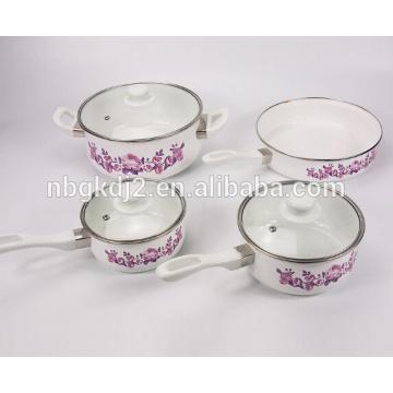 BATERIA 7 PZAS PELTRE single bakelite handle enamel cooking pot set with OEM rose decal