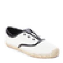 Off белый и черный Espadrille квартир холст верхней резиновой подошве джутовой обуви