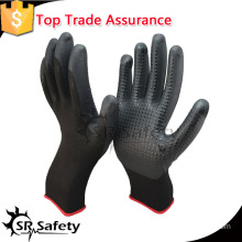 SRSAFETY nylon liner fake foam nitrile safety glove/doatted working gloves