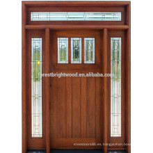 Puerta de entrada de madera maciza caoba estilo americano para villa