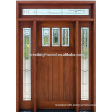 American style mahogany solid wood entrance door for villa