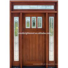 Porta de entrada de madeira maciça mogno estilo americano para villa