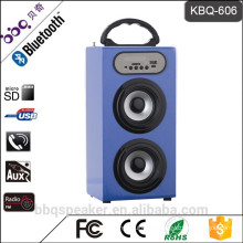 KBQ-606 1200 mAh battery dual 3 inch 10W speaker with LED light /USB/TF/FM