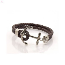 China Manufacturer Wholesale Anchor Leather Bracelet