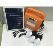 Sistema de kits de iluminación LED solar con radio FM y reproductor de tarjeta SD