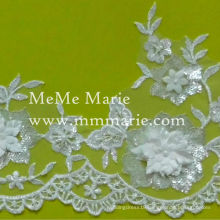 3D Lace Fabric Silver Sequined Embroidery Lace Fabric for Bridal Gown CTB196AB