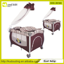 Manufacturer NEW Baby Playpen Deluxe Aluminum Frame with High pole Mosquito Net U style Diaper Changer Playpen for Baby