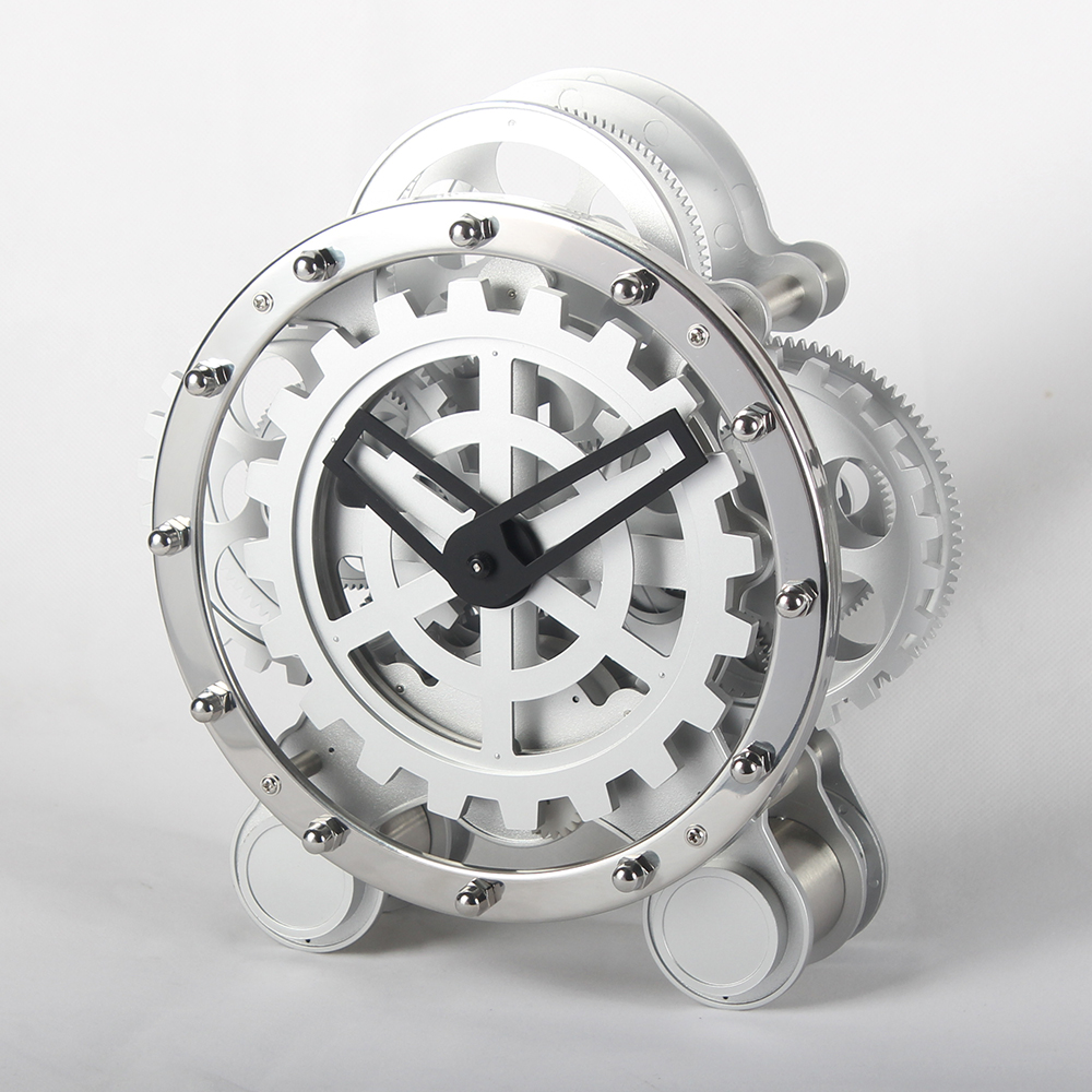 Round Gear Clock With Two Feet