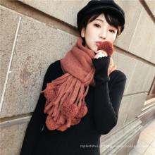 Mais recente projeto mulheres outono inverno pele pashmina lã tricotar cachecol xale com pom pom