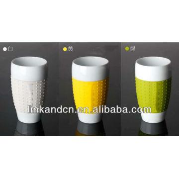 KC-00941 2013 NOUVEAU !! Tasse en céramique avec couvercle et manchon en silicone