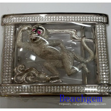Chinese Zodiac Monkey Sterling Silver Belt Buckle for Man