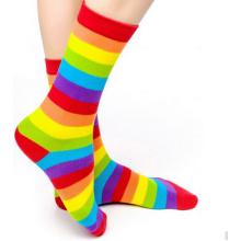 Personnalisé Bonne Qualité Rainbow Design Coton Femmes Chaussettes Chaussettes Heureux