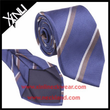 Blue Brown Striped Mens Jacquard 7 Fold Silk Tie