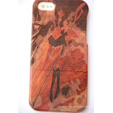 Housse de protection en bois naturel sculpté pour iPhone Plus