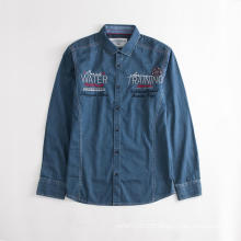Veste-chemise en jean bleue brodée pour homme anti-rides
