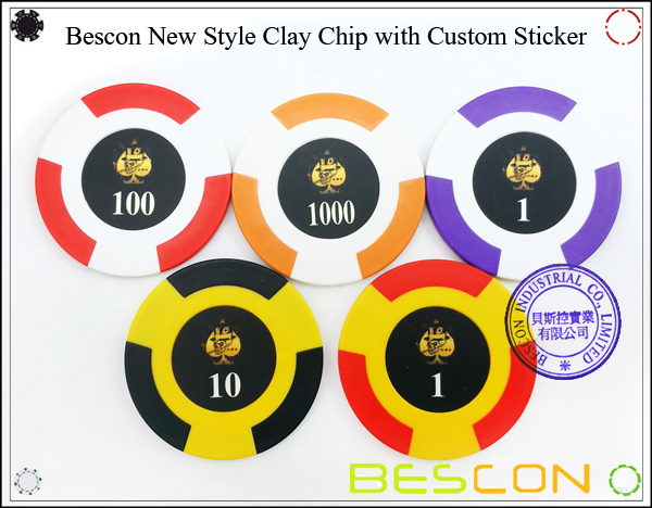 Bescon New Style Clay Chip with Custom Sticker-6