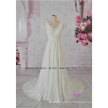 Frisado e Apliqued Flor Hi Lo vestido de noiva Glamorous Tiered Fishtail vestido