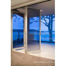 Thinner Frames Blue Tinted Double Glass Aluminium Doors