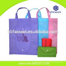 Novo material reciclado saco de compras dobrável em nylon