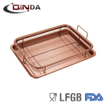Aço cobre cor de cobre antiaderente batatas fritas fritar panela conjunto