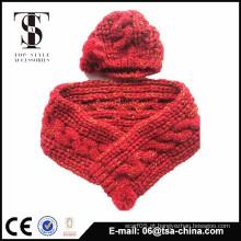 Kids inverno quentes lenço de malha e chapéu conjunto com com Pom Poms