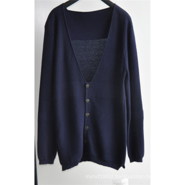 Pure Colour V Neck Man Sweater Cardigan