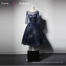 LSQ008 3/4 sleeve blue sexy women dress elegant latest design formal evening gown