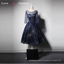 LSQ008 3/4 manga vestido azul feminino vestido elegante último vestido formal vestido de noite