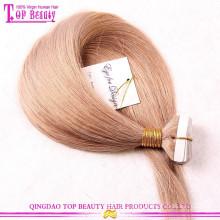 Nova moda de alta qualidade 100% cabelo europeu fita extensão do cabelo Qingdao fábrica de fita dupla face para extensões de cabelo