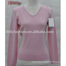 suéter del cuello en v de la cachemira de las mujeres