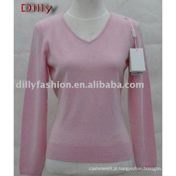 Camisola feminina em cashmere v neck
