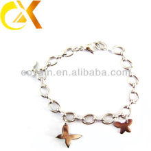 Bela pulseira de jóias de aço inoxidável borboleta design para a menina