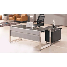 Modern glass top office table design with wooden side table