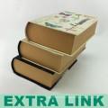 Encre multicolore et boîte de lavage Conception livre Vintage en forme de boîte-cadeau en papier