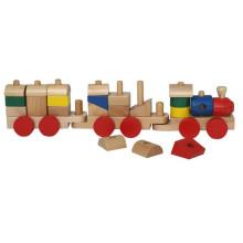 Brinquedo de trem bloco de madeira construção