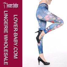 Hot Sell Printed Tights Fake Jeans Seamless Women Leggings (L97032-2)