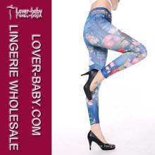 Venda quente impresso calças justas falso jeans sem costura mulheres leggings (l97032-2)