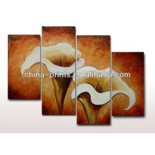 Pintura a óleo Handmade da flor na lona para a decoração