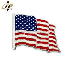Venta al por mayor de metal personalizado ondeando bandera americana solapa de plata Pin