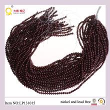 4-5mm de color rojo oscuro forma de patata perla cadena cultivada perdió filamento de perlas de agua dulce