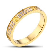 Anillo de oro de acero inoxidable anillo de piedras preciosas
