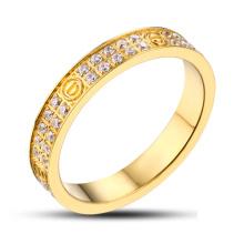 Aço Inoxidável Anel de Ouro Anel de Pedra Preciosa