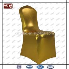 Populares de moda de lujo estiramiento de poliéster de oro personalizado boda sillas cubiertas