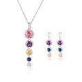Fashion Long Drop Colorful CZ Jewelry Set