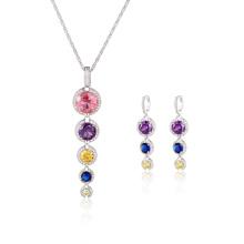 Conjunto de jóias coloridas da gota longa da moda CZ