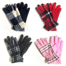 Lady Fashion Checked Polar Fleece Knitted Winter Warm Gloves (YKY5447)