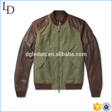 Veste de chasse en toile de coton lavé avec veste en cuir